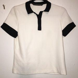 Zara Trafaluc Black & White T-Shirt w Collar